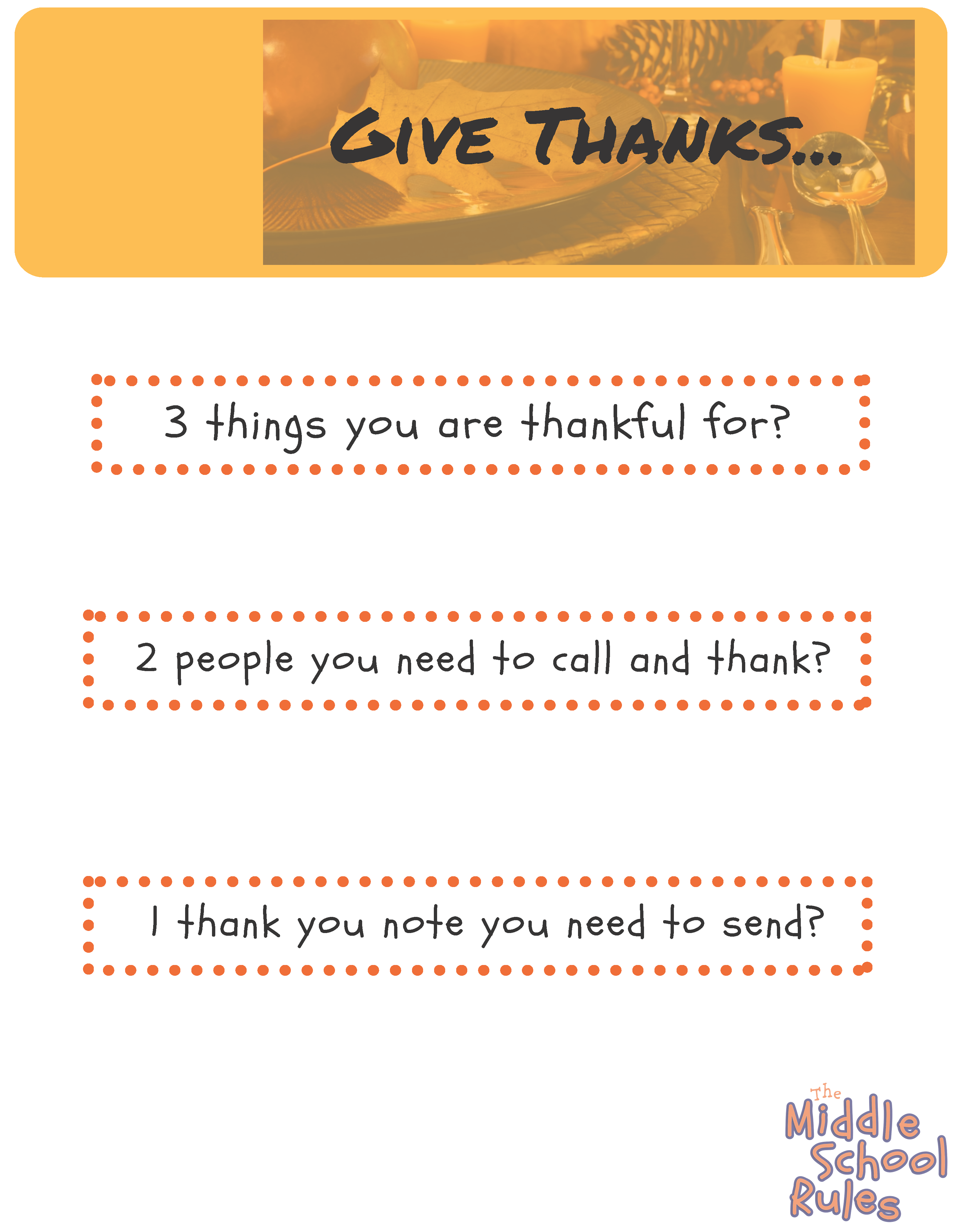 Download The Msr Thanksgiving Worksheet Middle School Rules