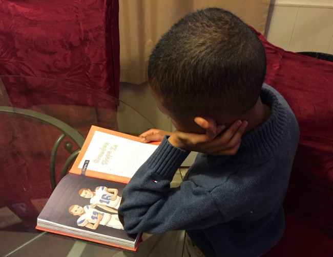 My son reading Middle School Rules